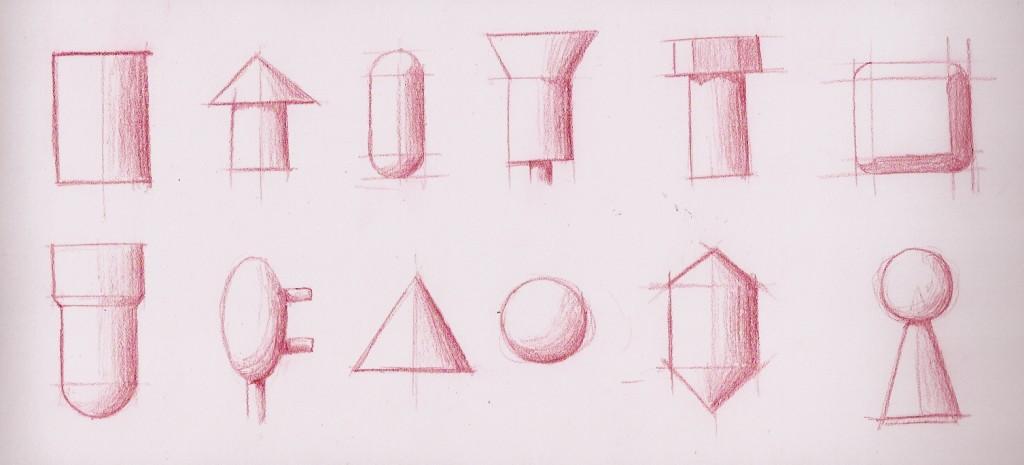 Various shapes pencil shading