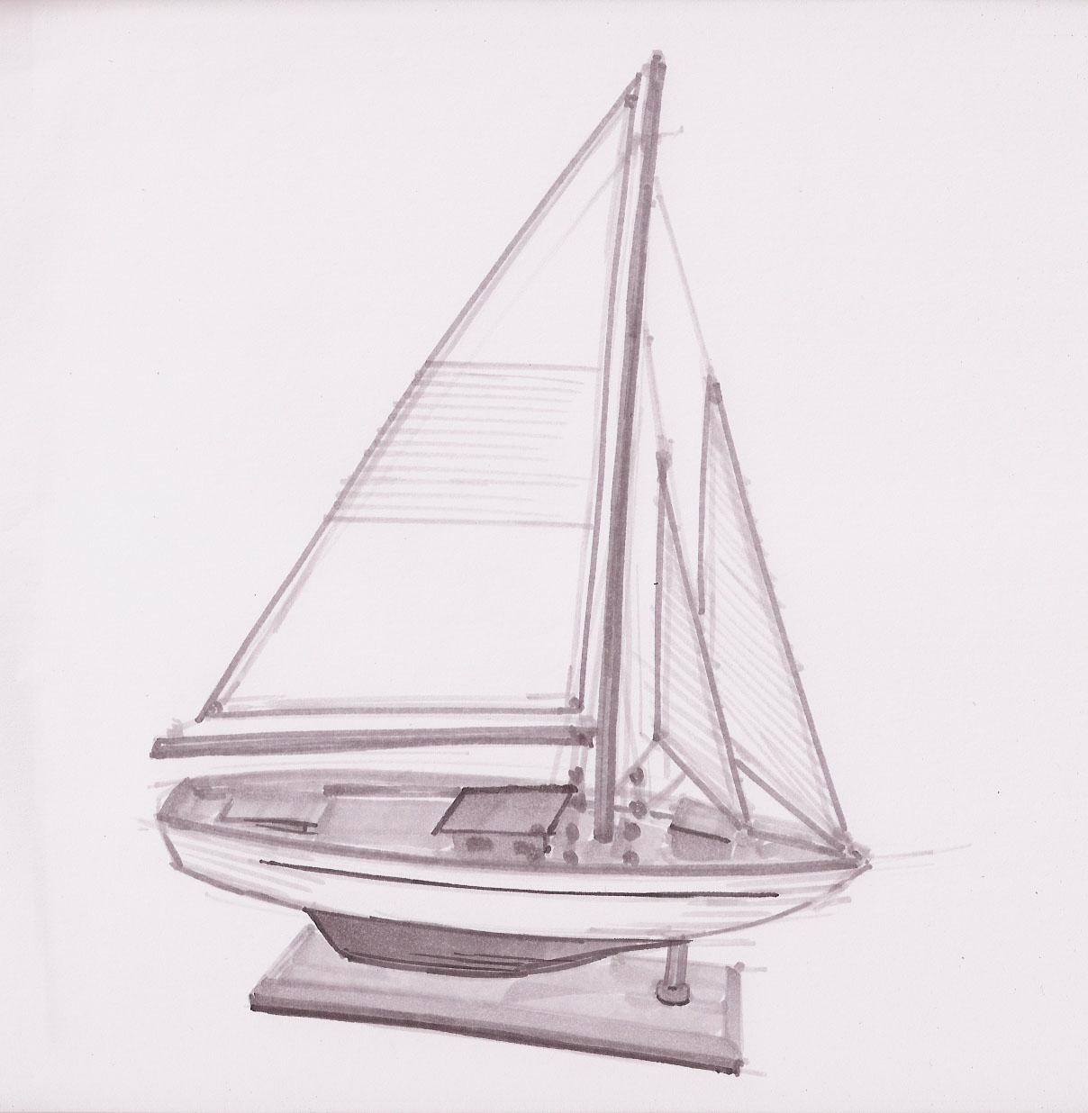 how to draw a simple sailboat